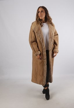 Vintage Sheepskin Leather Shearling Coat Long UK 18 (K93D)