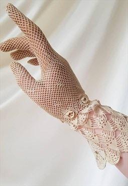Antique Edwardian Crochet Lace Gloves in Beige