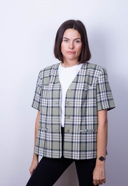 Oversized Tartan Short sleeve Blazer