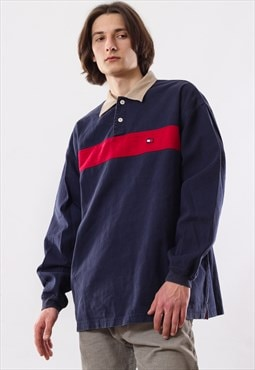 90's Vintage Mens TOMMY HILFIGER Long Sleeve Top Rugby Shirt