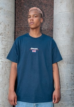 Short Sleeve Tshirt in Navy with Dream Sports Embroidery