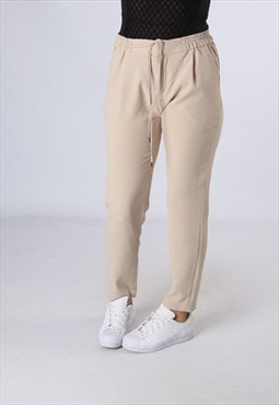 High Waisted Trousers Plain Tapered Leg  UK 10 (HK5B)