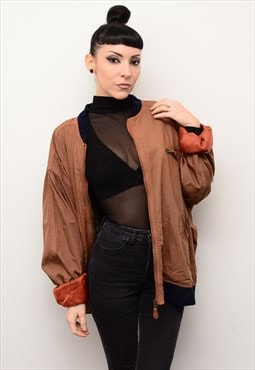 Vintage 90's Oversized Silk Bomber Jacket in Burnt Orange
