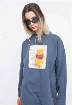 Vintage Sweater Winnie The Pooh Disney Grey Cartoon Logo