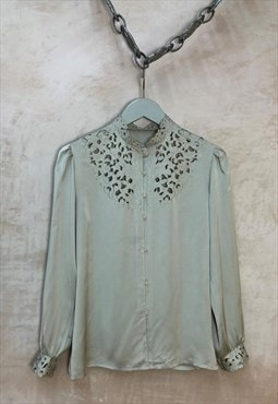80's Satin lace detail blouse