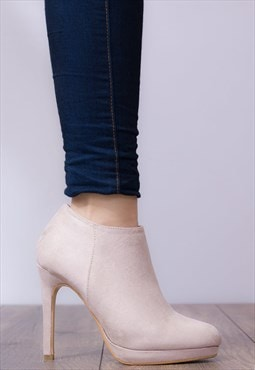 TO THE MAX High Heel Stiletto Ankle Shoes - Nude Suede Style