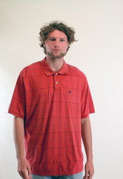 Vintage Ralph Lauren Chaps Checked Polo Shirt Red