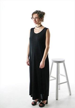 BLACK LONG DRESS / STRAIGHT SLEEVELESS DRESS