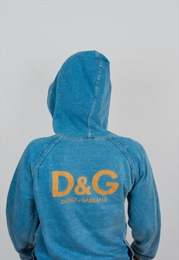 D&G Dolce & Gabbana Cotton Ice Washed Hoodie Zip