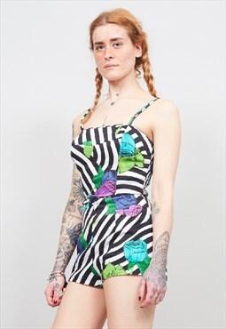 Vintage early 60's designer floral romper swimsuit/ playsuit