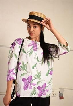 90's retro floral Paris chic festival blouse top