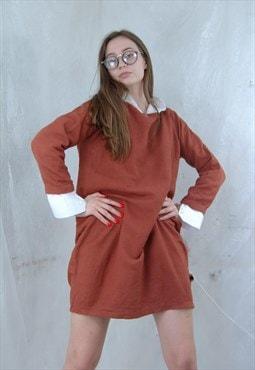 Vintage Dark Orange Oversized Flares Y2K Classic Linen Dress