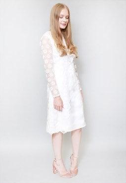 Vintage 1960's Ivory Lace Gerliud Aloru Wedding Dress