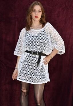 White vintage T shirt stiched dress