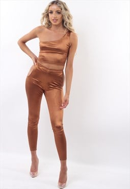 Tan Satin Asymmetric Top & Leggings