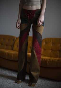 Vintage Y2K D&G Suede Leather Patchwork Flared Trousers