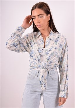 Cacharel Womens Vintage Shirt Large Blue Floral 90s