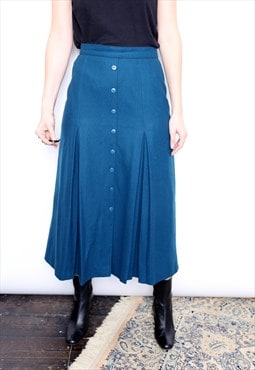 Vintage 80s Blue Wool Pleated Button Midi Skirt