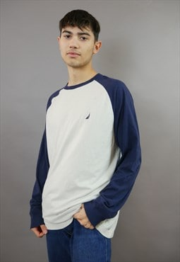 White & Navy Blue Nautica Long Sleeved T-Shirt