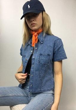 Blue Retro Denim Style Studded Shirt