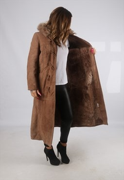 Vintage Sheepskin Suede Shearling Coat Long Hooded 10 (JH4B)