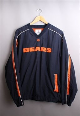 Mens Vintage NFL Bears V Neck Windbreaker Pull Over