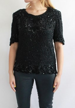 80s Vintage Black Embroidery Beaded Top