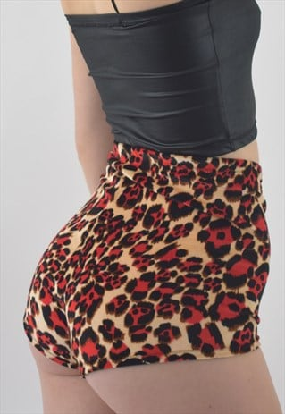 BOODWAH HIGH WAISTED BOOTY SHORTS IN RED ANIMAL PRINT