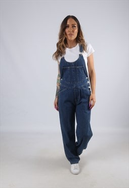 Vintage Denim Dungarees Wide Leg UK 8 XS (CK4F)