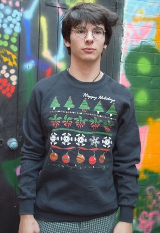 Black Vintage Christmas Jumper Sweater