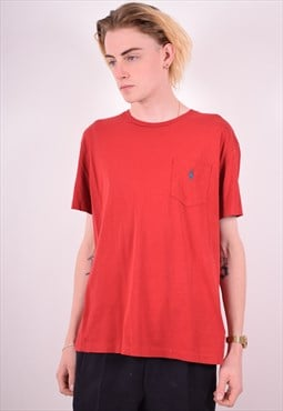 Polo Ralph Lauren Mens Vintage T-Shirt Top Medium Red 90s