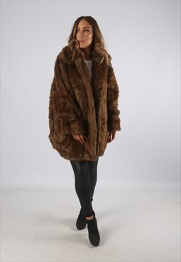 Vintage Faux Fur Coat Jacket Short Mid UK 18 XXL  (B9BP)