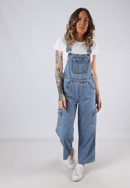 Denim Dungarees SQUEEZE 'PETITE' Wide Leg UK 8 (K3F)