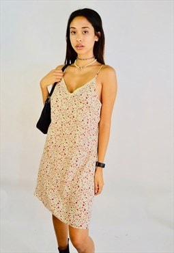 Vintage 90s Floral Print Mini Summer Slip Dress