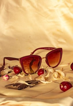 Supersize Cat Eye Sunglasses Deep Red