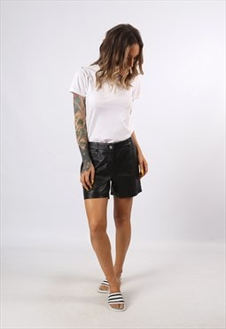 Mid High Waisted Leather Shorts Bohemian UK 12  (H7CO)