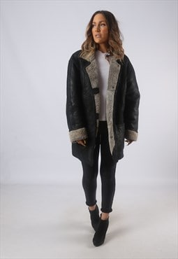 Vintage Leather Sheepskin Shearling Coat UK 18 XXL  (B3I)