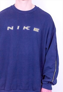 Vintage Nike Embroidery Spell Out Sweatshirt Blue XL