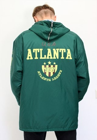 90'S BASEBALL HOODED JACKET WITH RETRO GRAPHIC PRINT