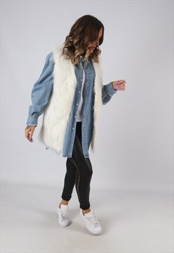 Faux Fur Gilet Waistcoat Jacket Long UK 8 - 10 (9KDK)