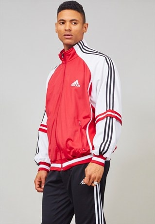 VINTAGE RED 90'S MESH BOMBER SPORTS ADIDAS JACKET
