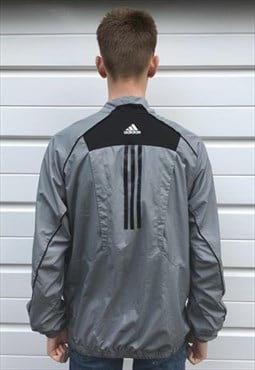 Mens Adidas jacket grey black quarter zip pullover coat