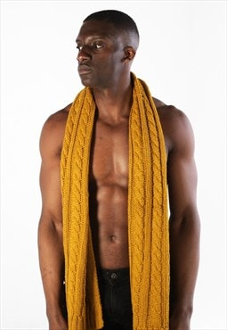 Essential Wool Cable Textured Tassel Scarf - Mustard Yellow