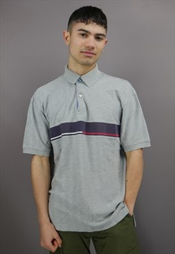 Vintage Tommy Hilfiger Polo Shirt in Grey with Large Logo