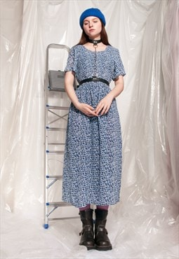 Vintage dress 90s blue printed sheer maxi shirt dress