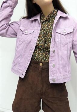 Cute Retro 90s Vintage Lilac Corduroy Cropped Jacket