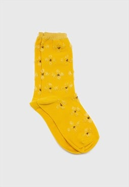 Mustard yellow tufted daisy socks