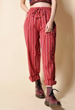 Red Stripe Hippie Cotton Trousers Pants