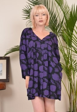 Vintage 90s Patterned Midi Dress Purple