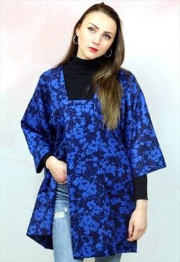 Vintage traditional Japanese blue and black kimono jacket
